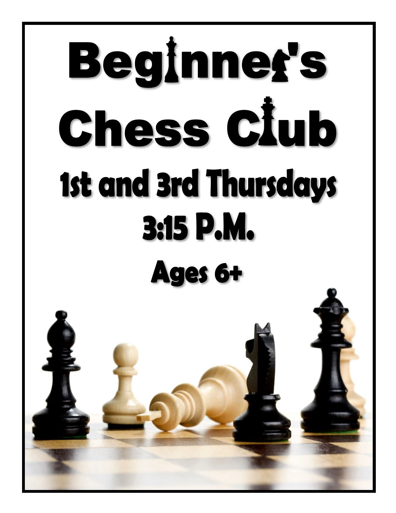 Chess Club 5 PM Every Monday
