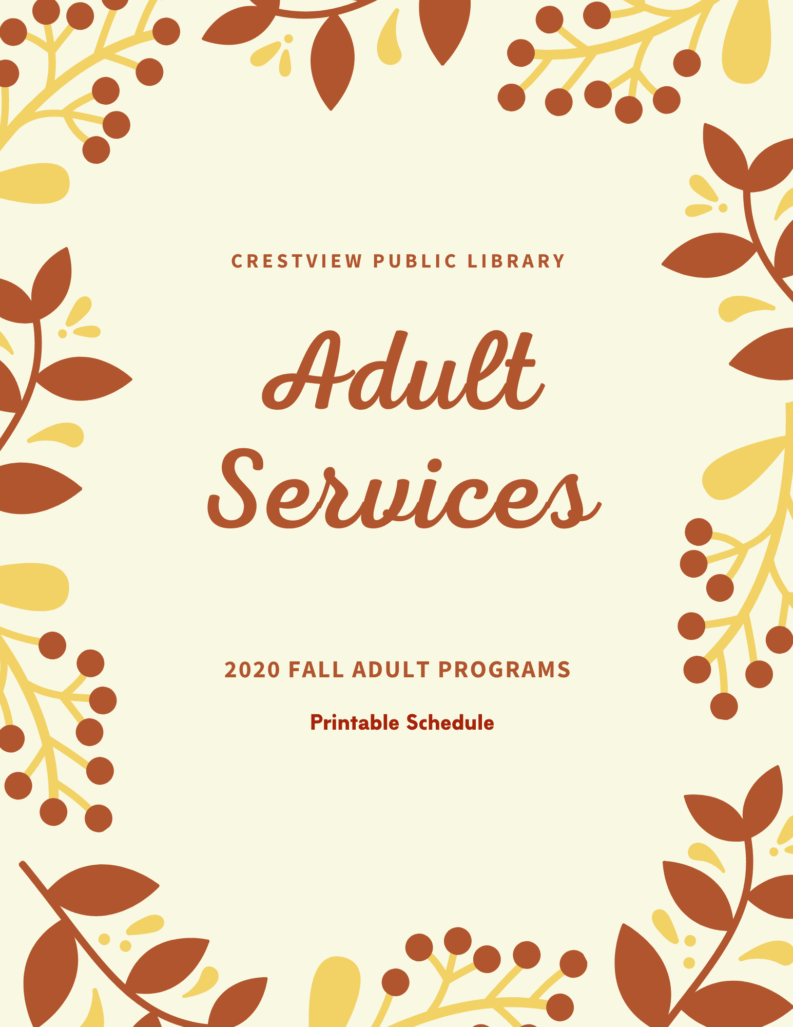 Adult Services Printable PDF Schedule