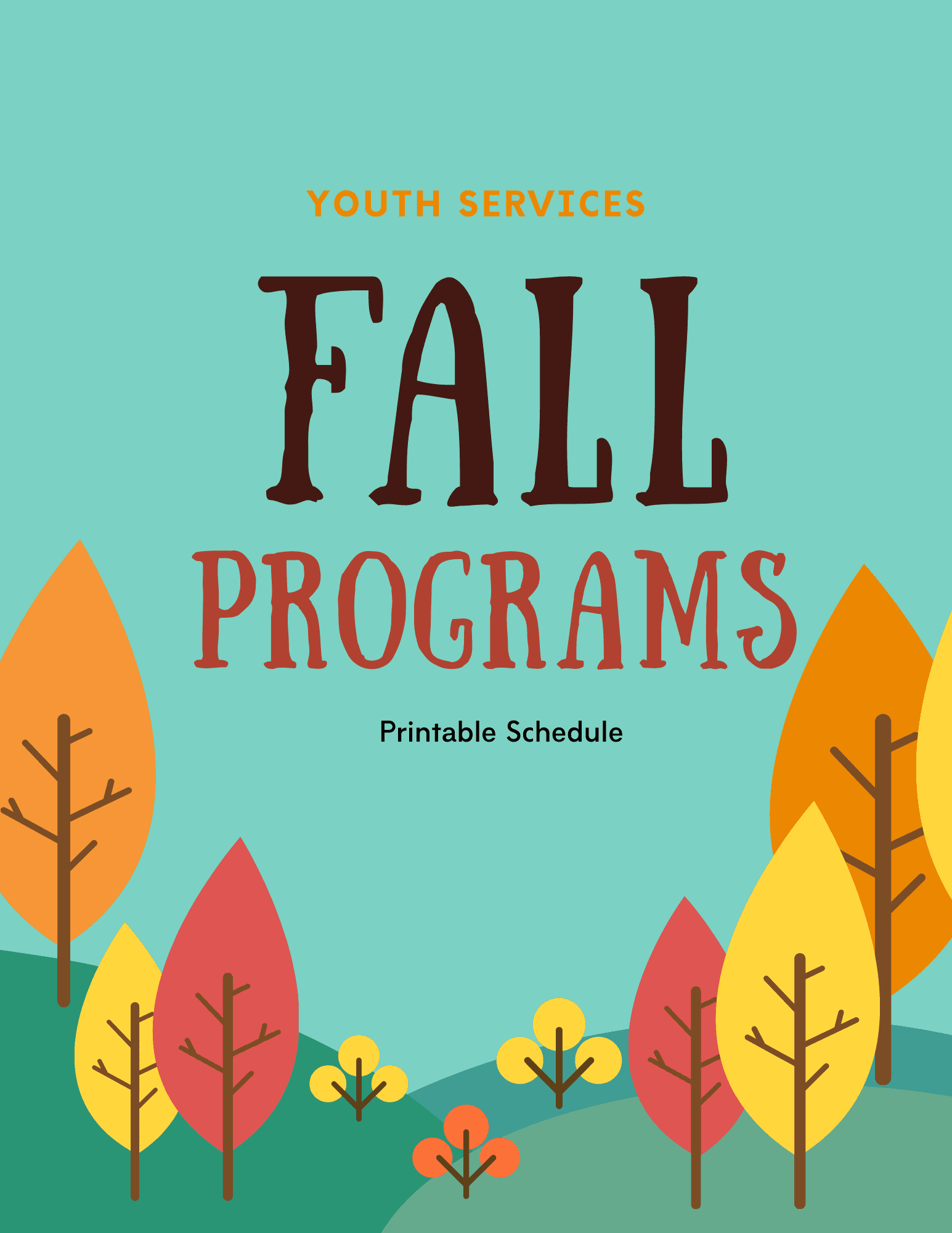Youth Services Printable Schedule