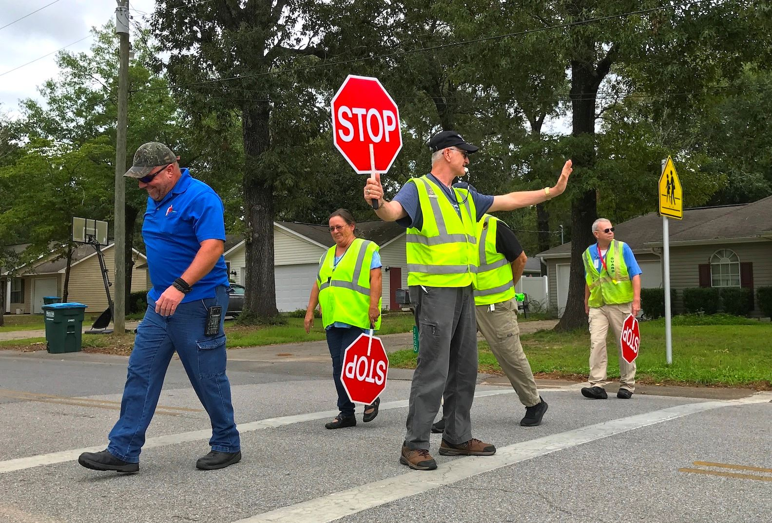 Crestview Police school zone crossing guard Bruce Dwyer earns his certification during Monday mornin