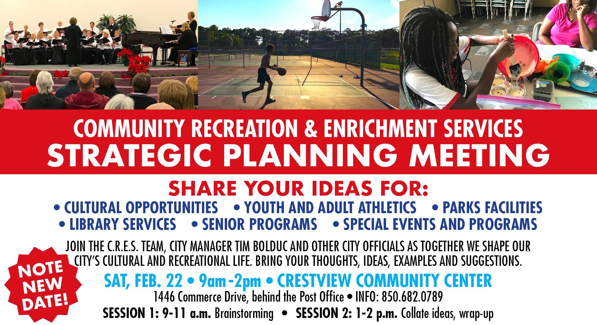 February 22 Parks Strategic Planning  9 am to 2 PM
