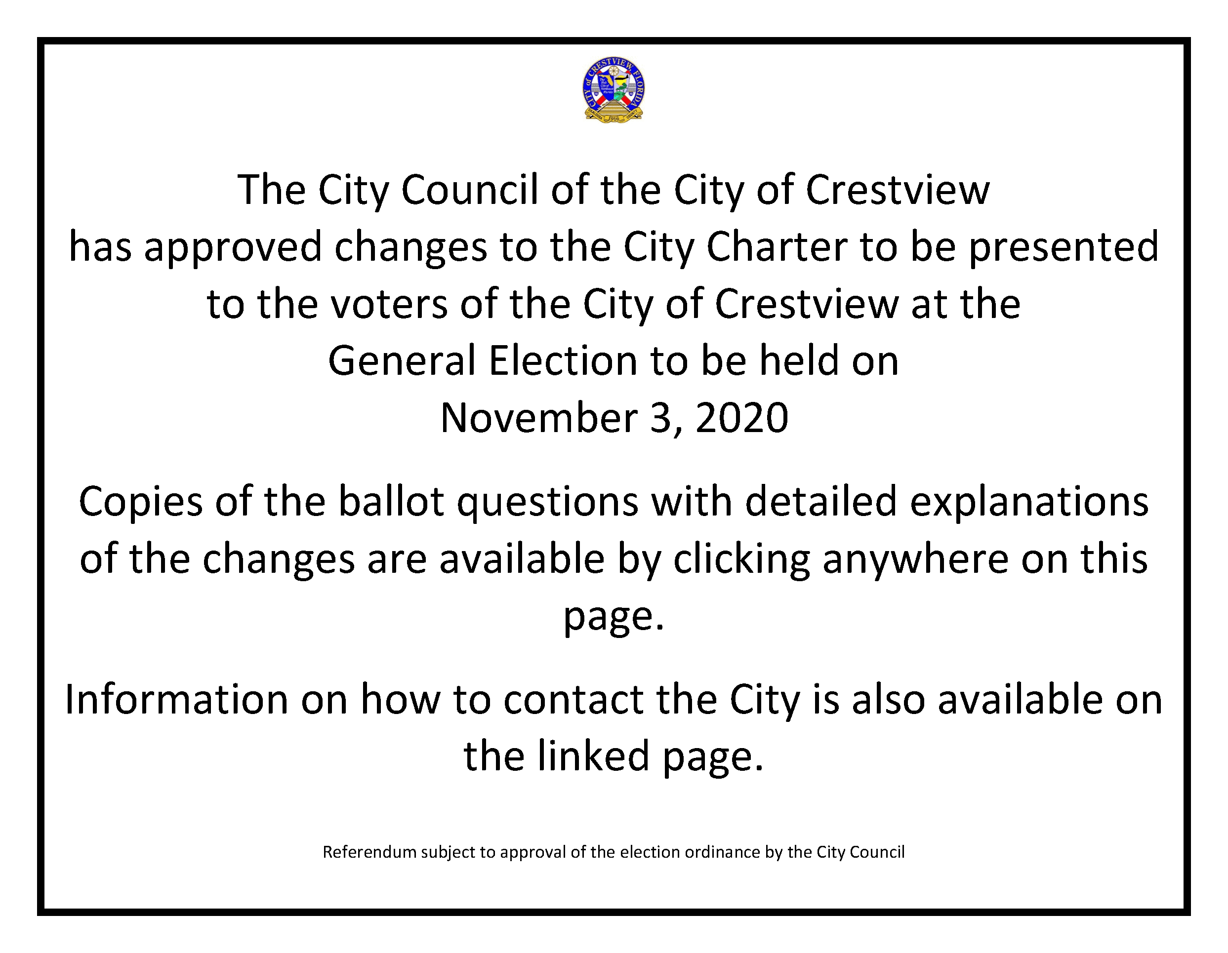 Information on the Proposed Charter Changes for 2020