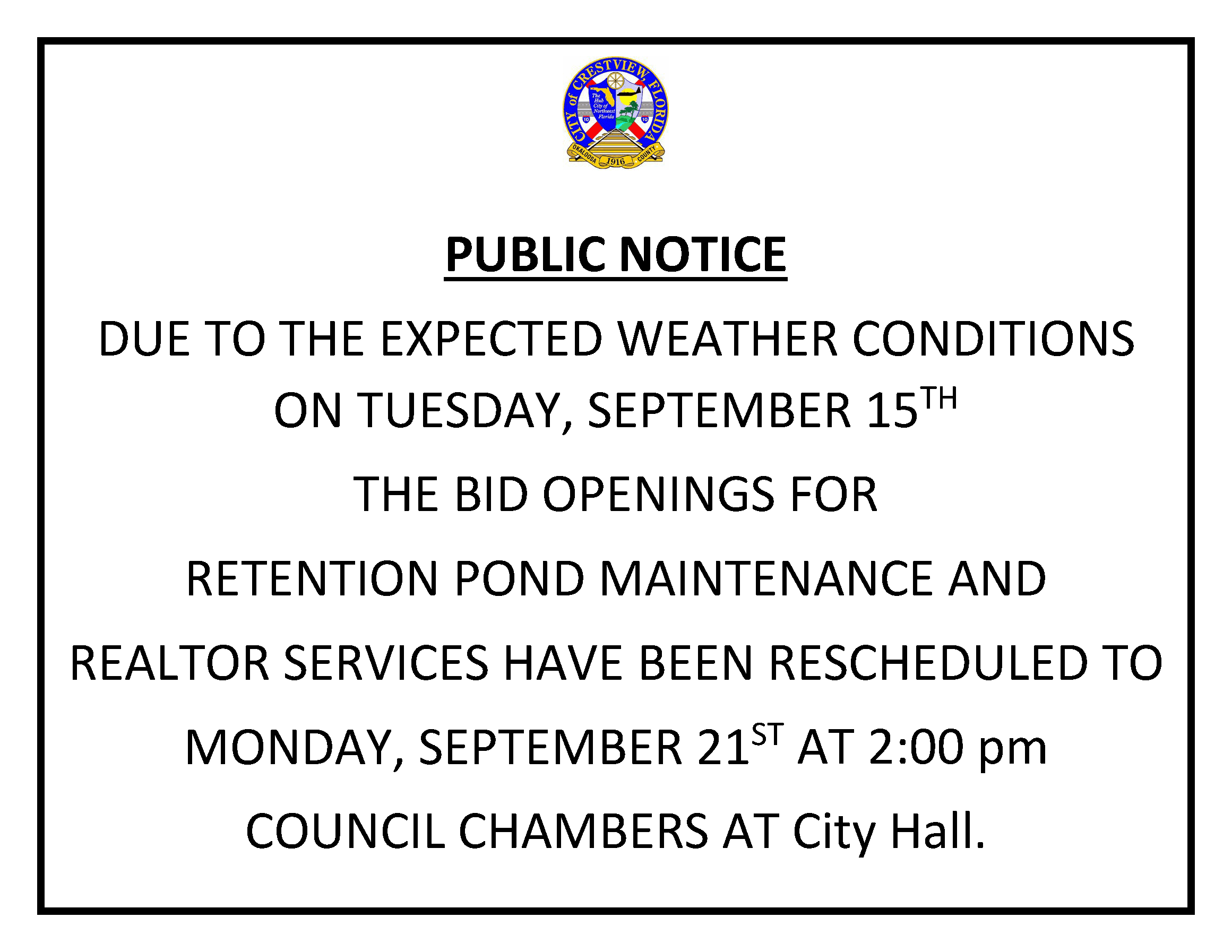 bid opening for 9/15 postponed to 9/21 2:00 PM