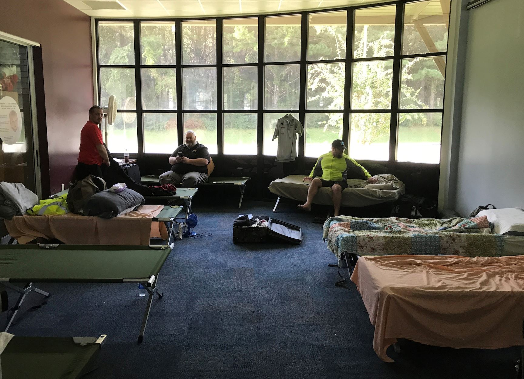 Eight EMTs stayed at the Crestview Public Library children's story room while heading west..