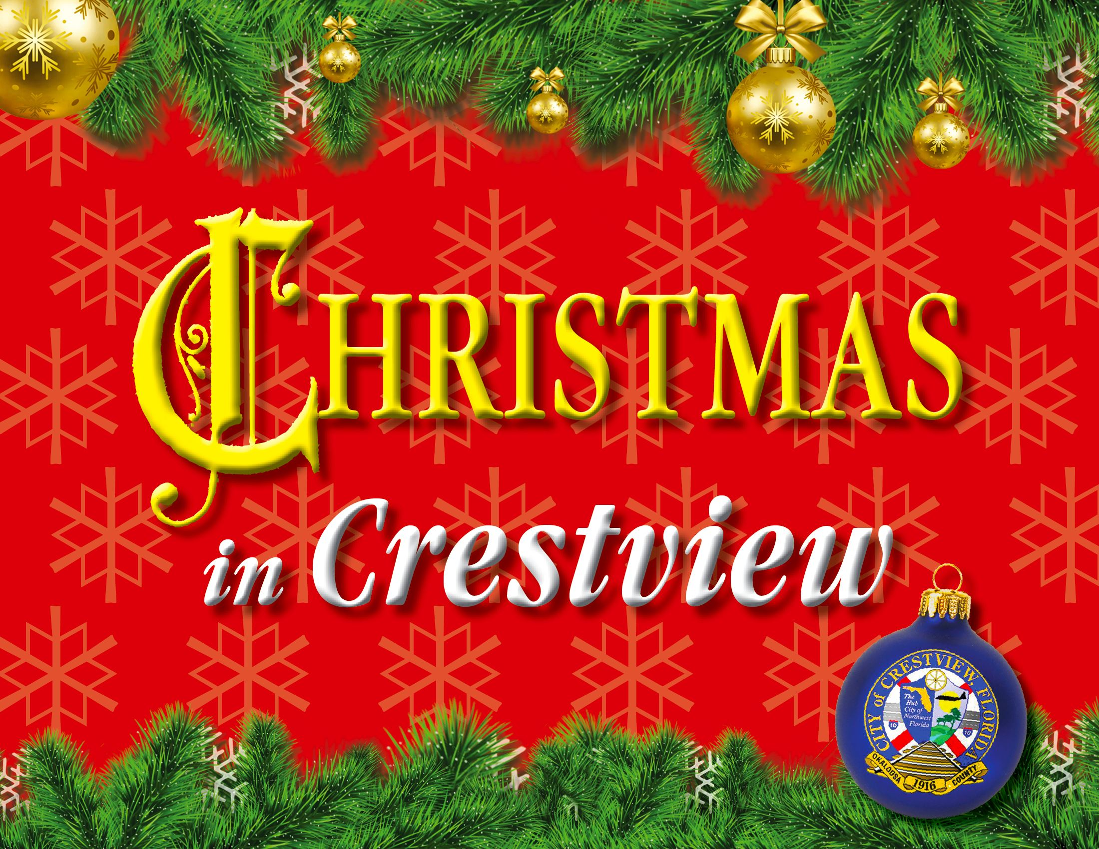 "A title slide reading ""Christmas in Crestview."""