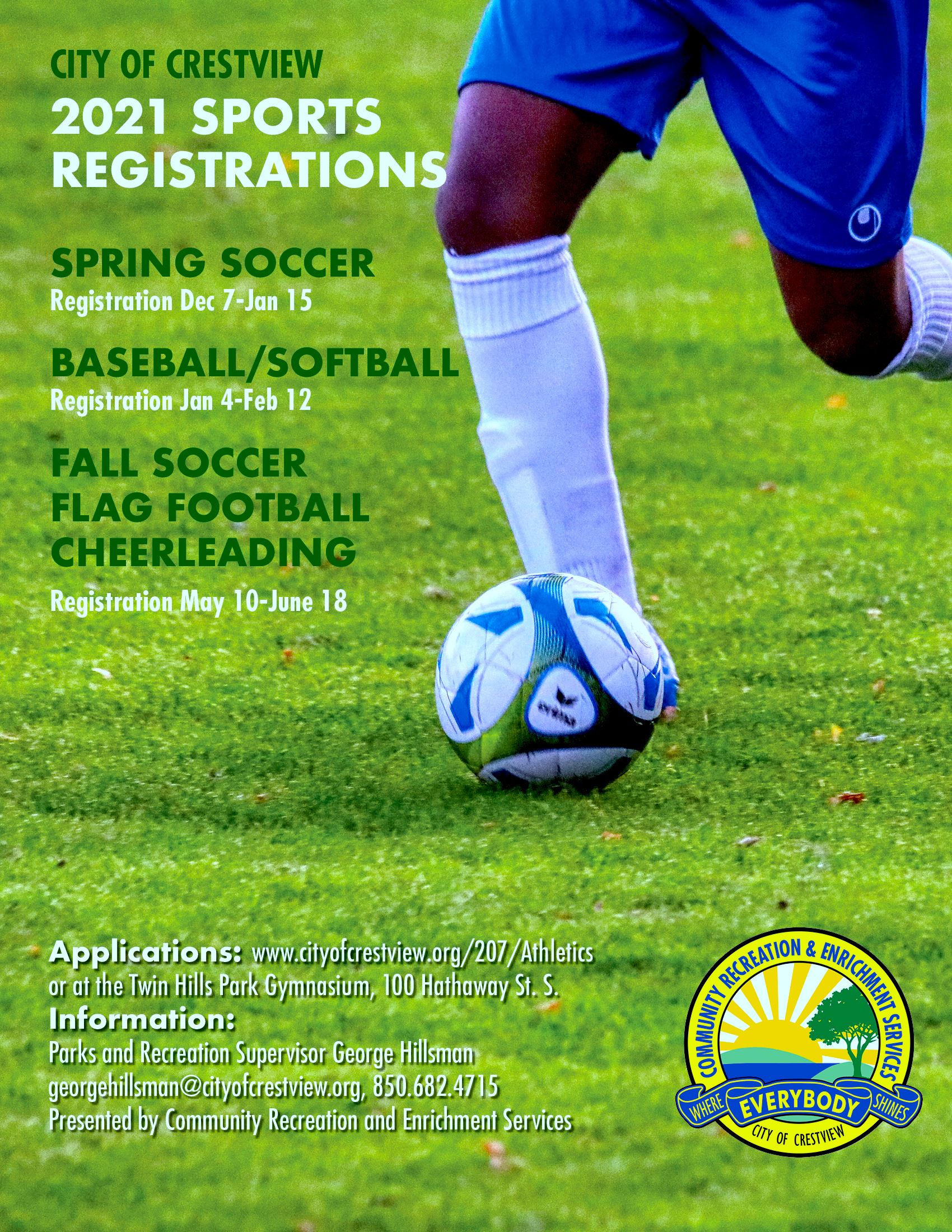 Sports registration information for 2020/2021
