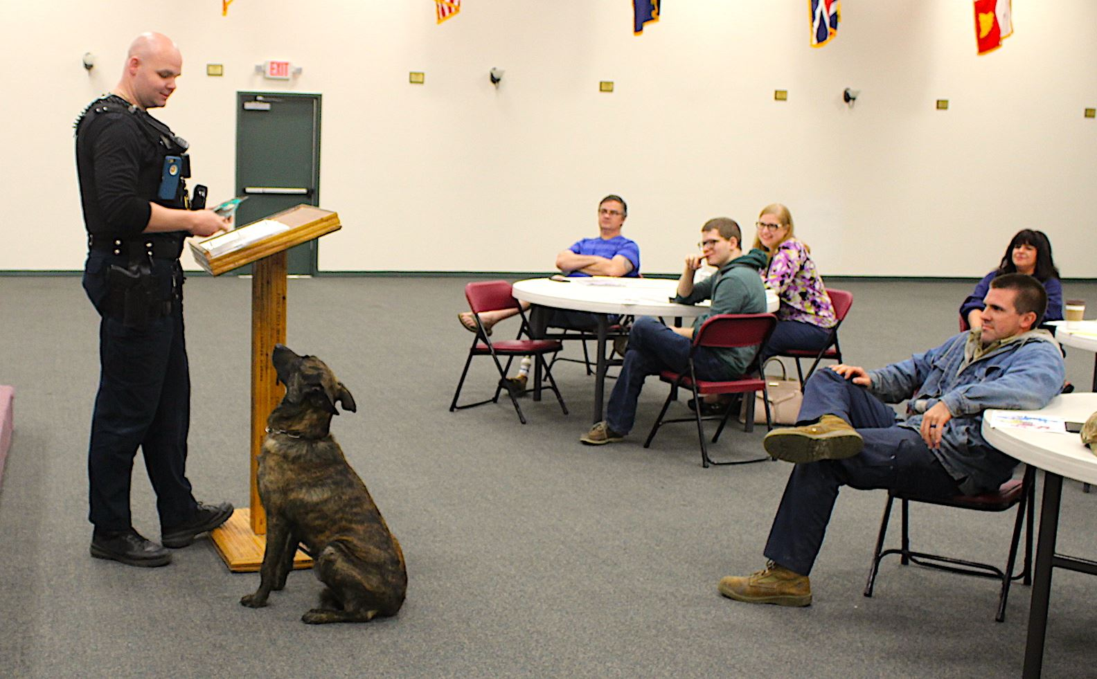Crestview Citizens Police Academy students meet K9 Officers Josh Ellrick and his partner Hero.