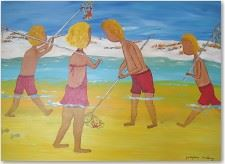 Contemporary Folk Art Paintings - Fishing