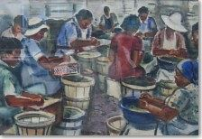 Emil Holzhauer Painting - Women Working With Wooden Buckets