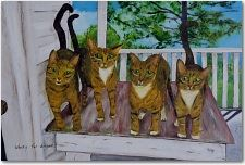 Four Cats on a Deck