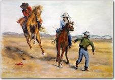 Three Cowboys and Two Horses